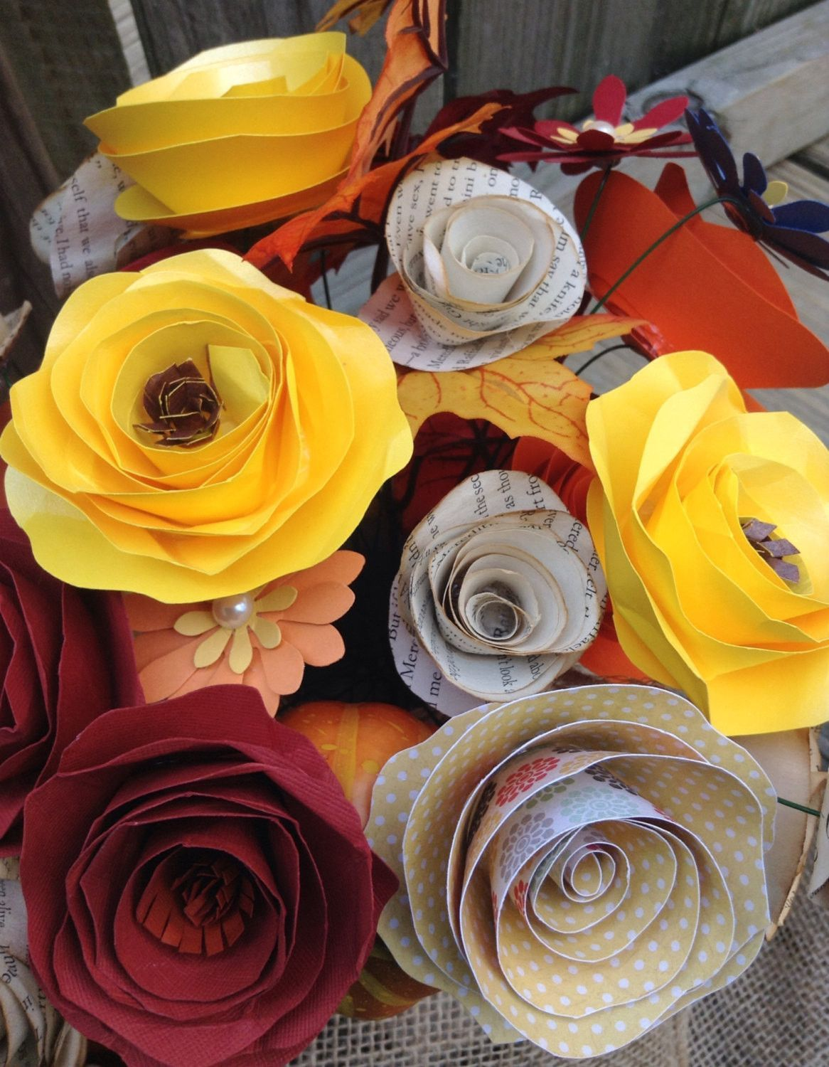 Paper Flowers Fall Flowers Fall Centerpiece Book Page Roses