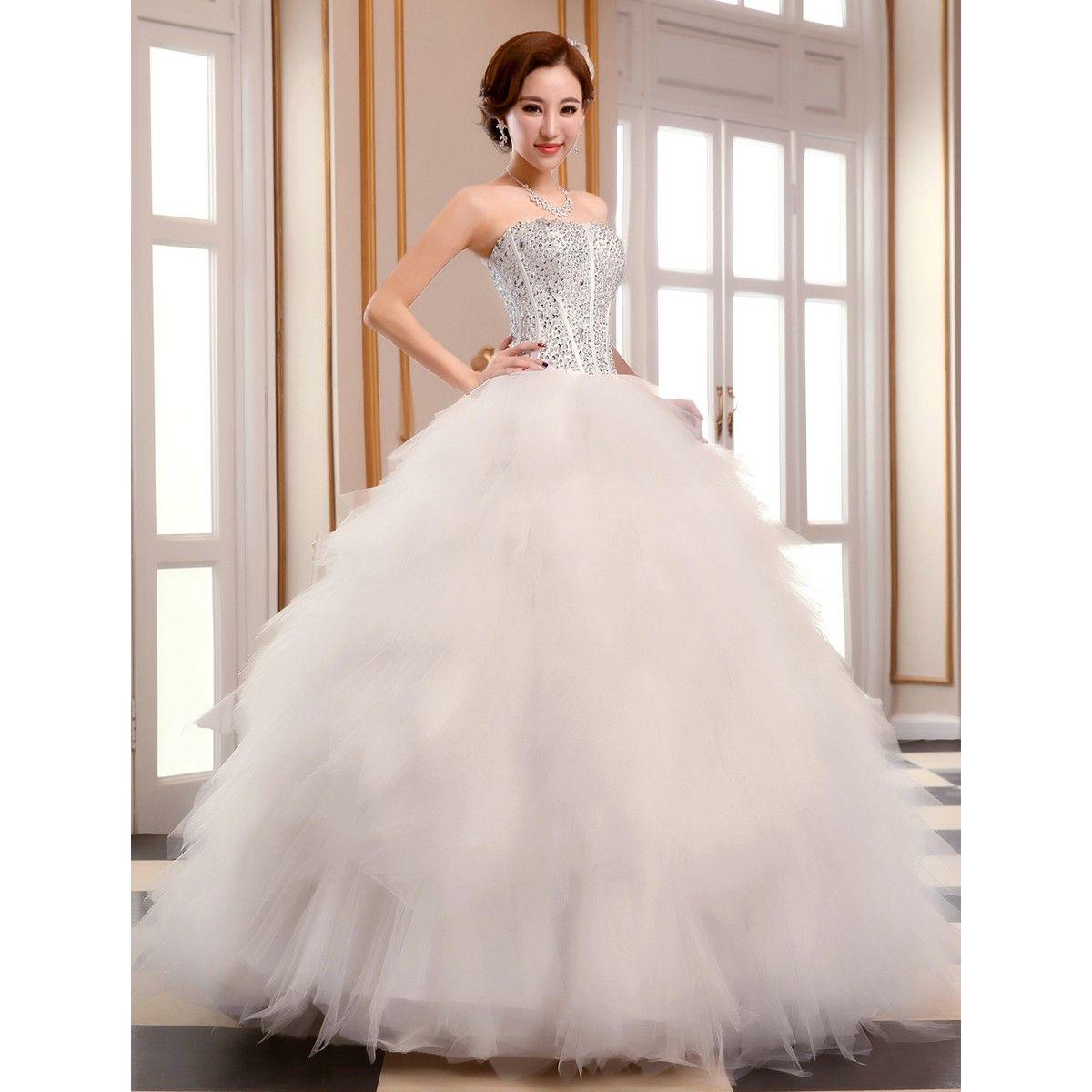 Ball Gown Strapless Floorlength Tulle Wedding Dress