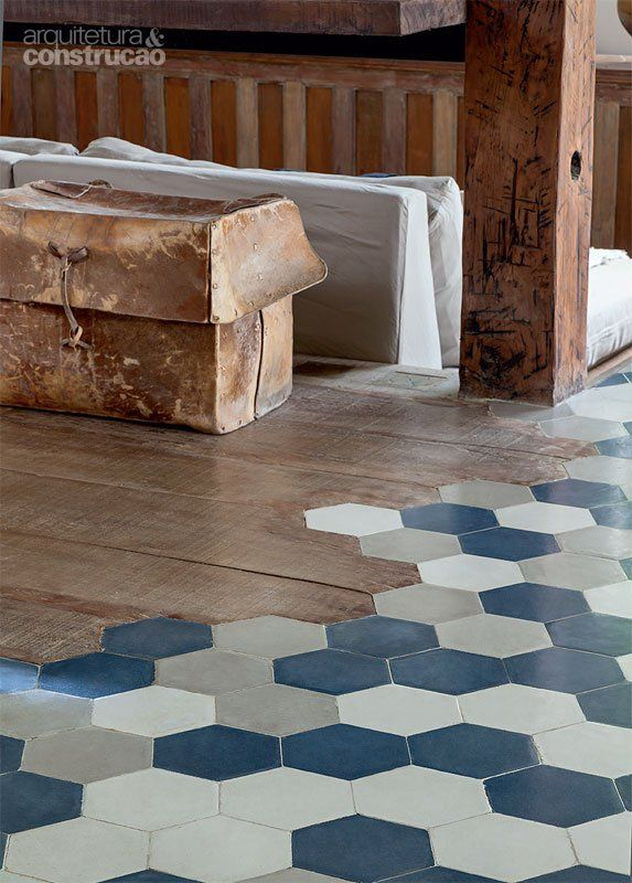 Transition carrelage hexagonal bois sol pinterest for Melange carrelage parquet