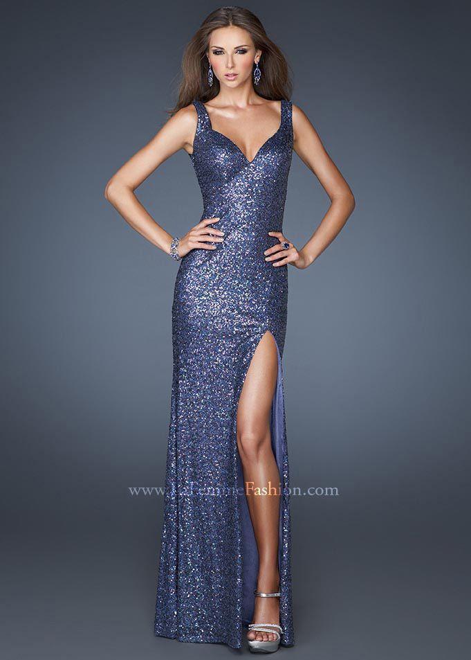 La Femme 18851 Navy V-Neck Strap Sequin Prom Dress 2013 | Reza ...
