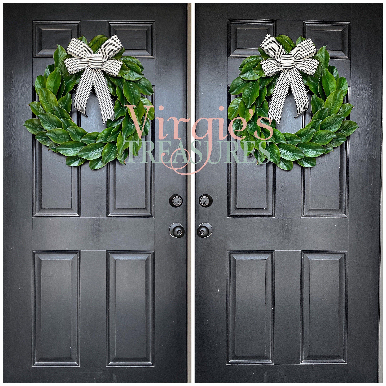 Photo of Magnolia wreath, magnolia leaf wreath, magnolia wreath, farm wreath, farmhouse wall decor, wedding, front door wreath, double doors