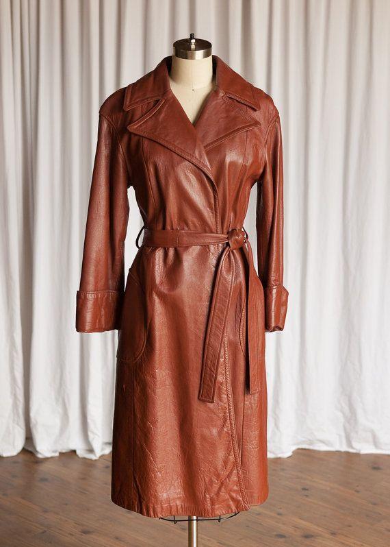 Newport coat | vintage 70s leather coat | vintage leather wrap coat | 24K by Dan Di Modes coat | brown / cognac leather trench coat
