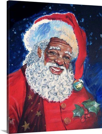 African American Santa In 2021 Santa Paintings African American Art Santa Art