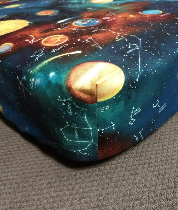 Photo of Fitted Crib Sheet Pack 'n Play Pillowcases Changing Pad Cover Cotton Astronomy Planets Solar System