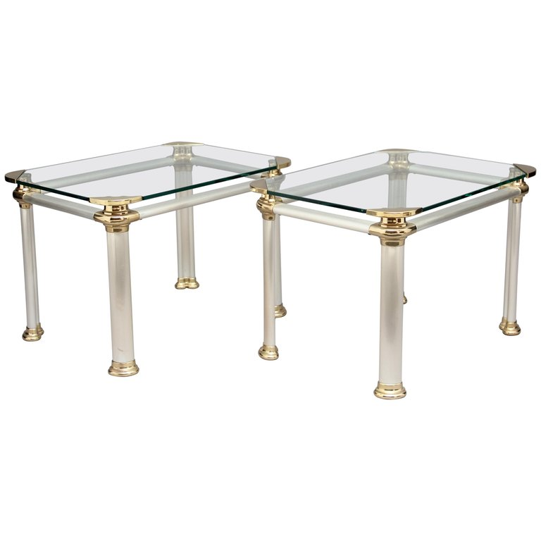 Pair Of Brushed Steel Brass And Glass Side Tables With Images