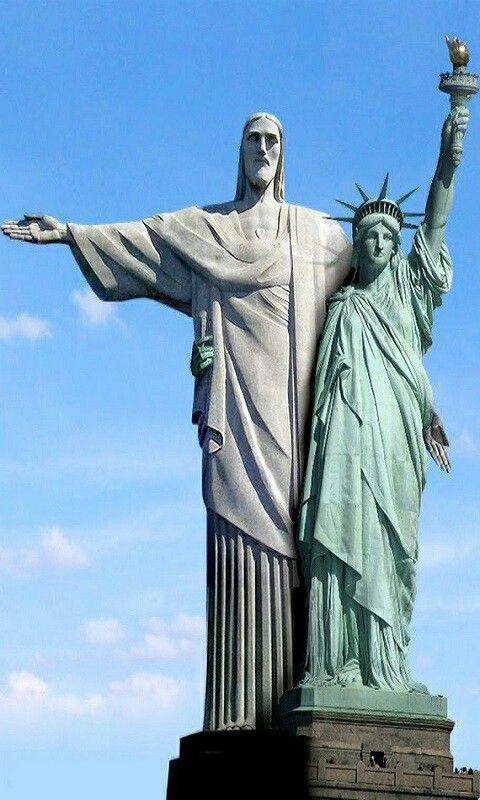 RJ e NY Statue, Statue of liberty, Jesus statue