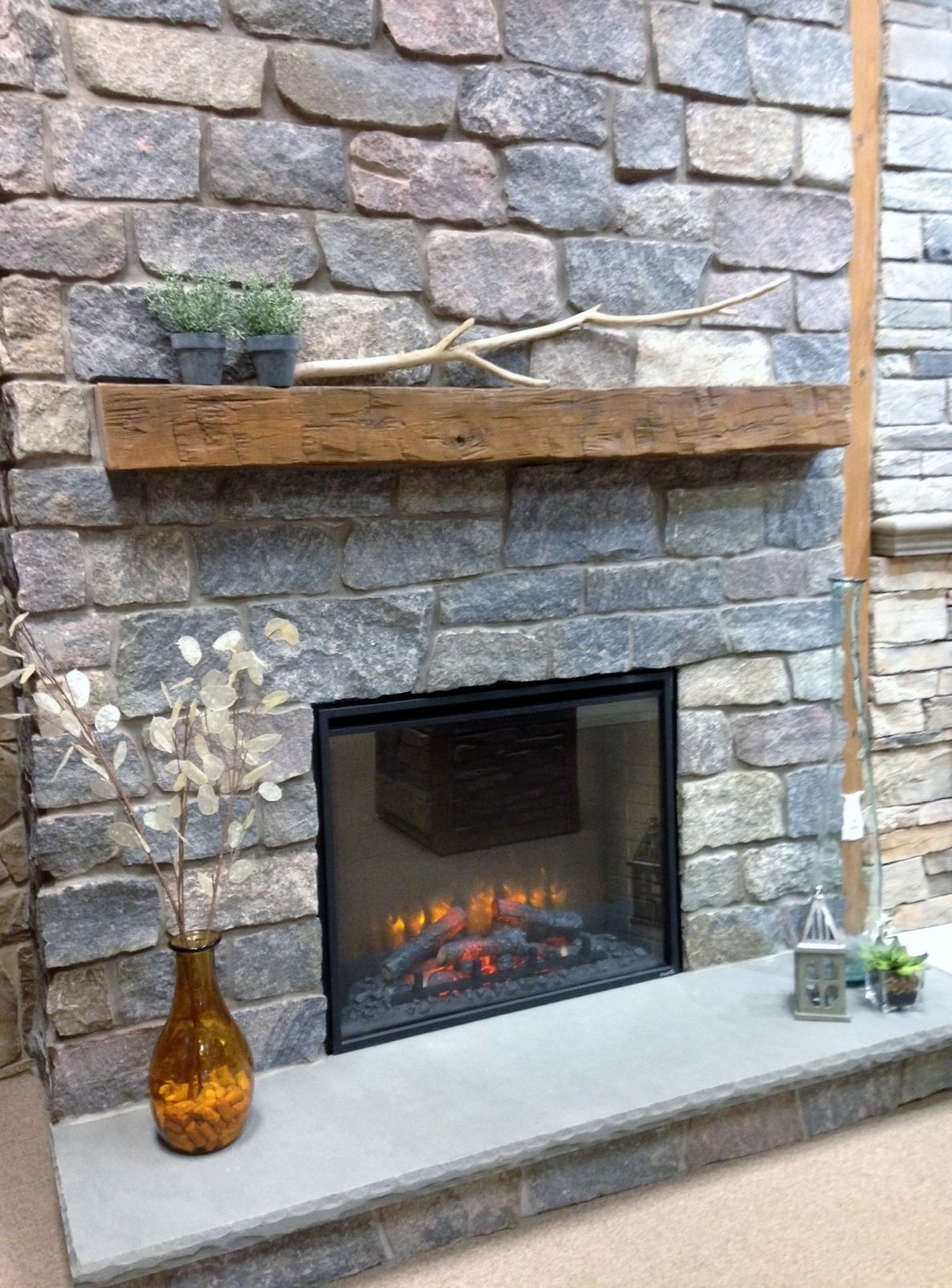 quarry cut natural stone fireplace surround, barn beam mantel