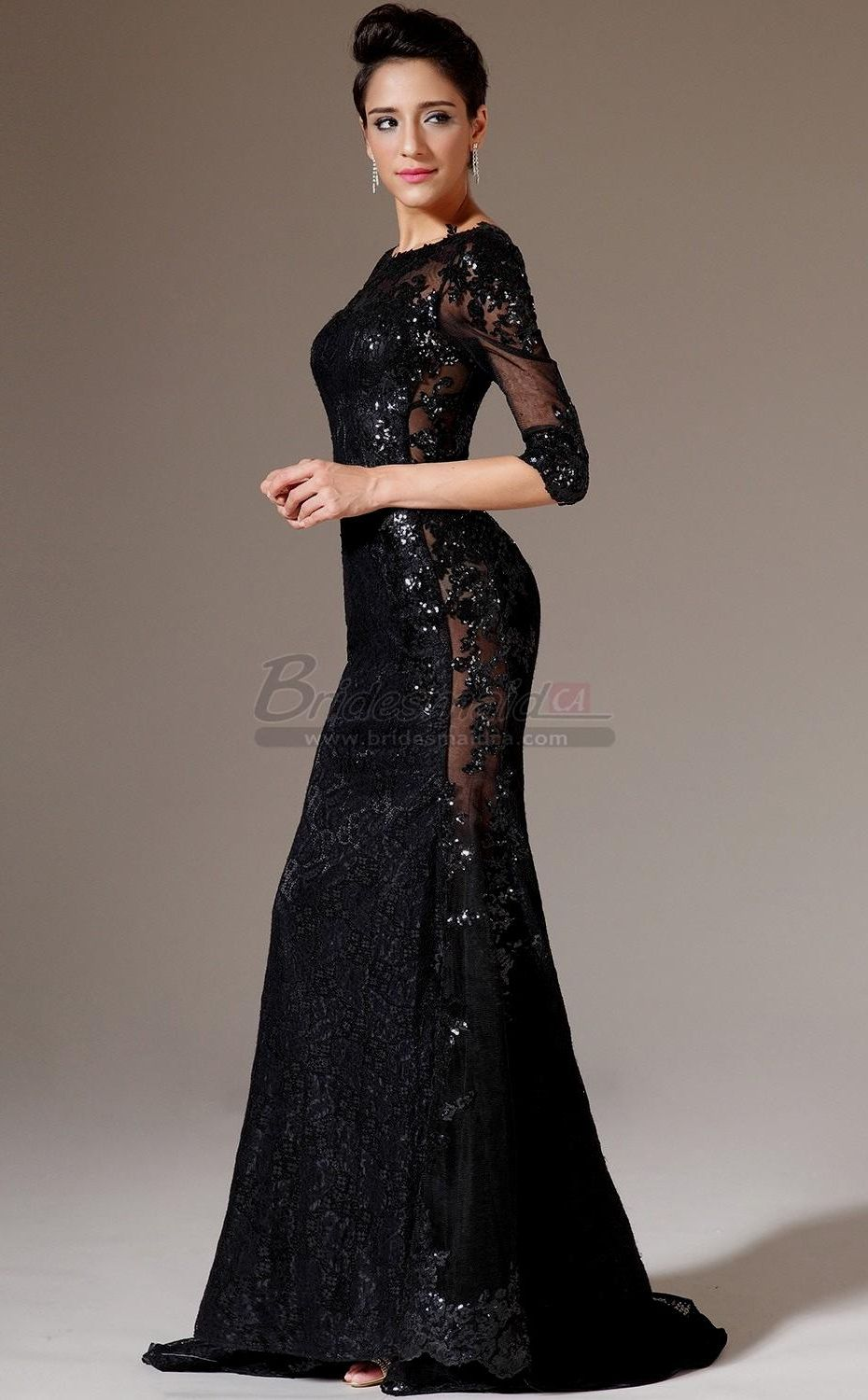 Black long sleeve lace bridesmaid dresses collection in