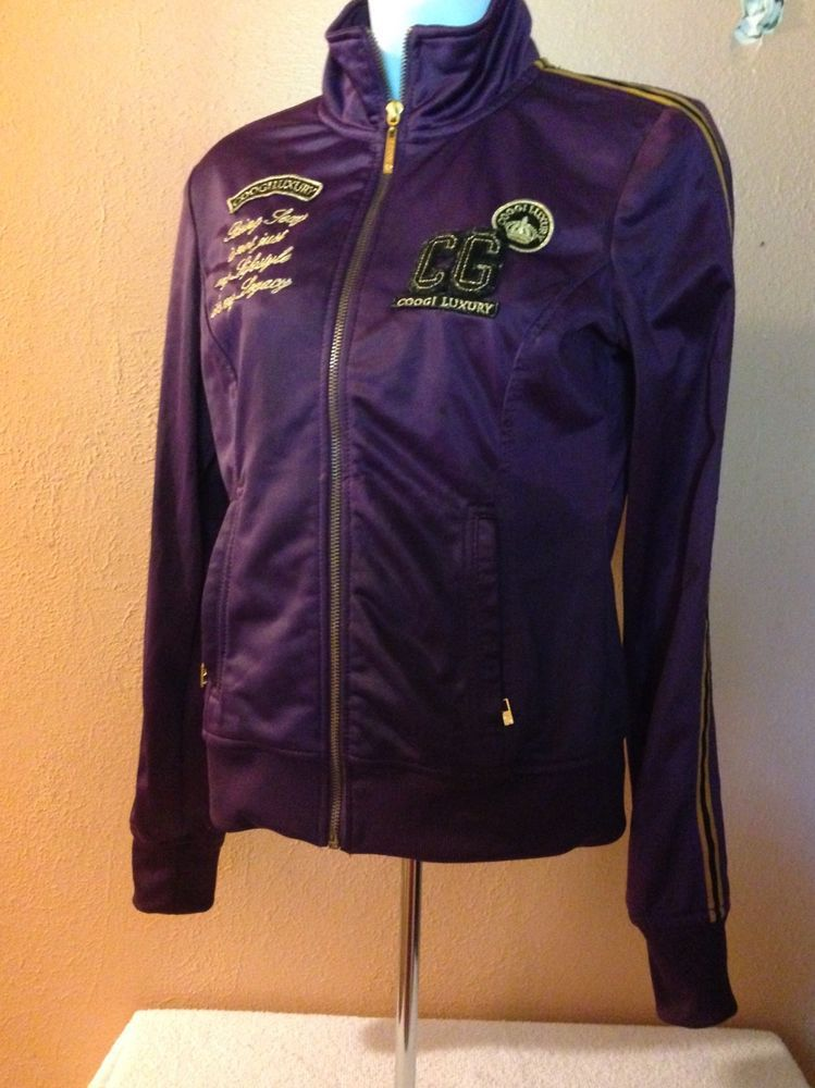 b8be65e67 Coogi Luxury Jacket Royal Purple And Gold Casual Embroidered Satin ...