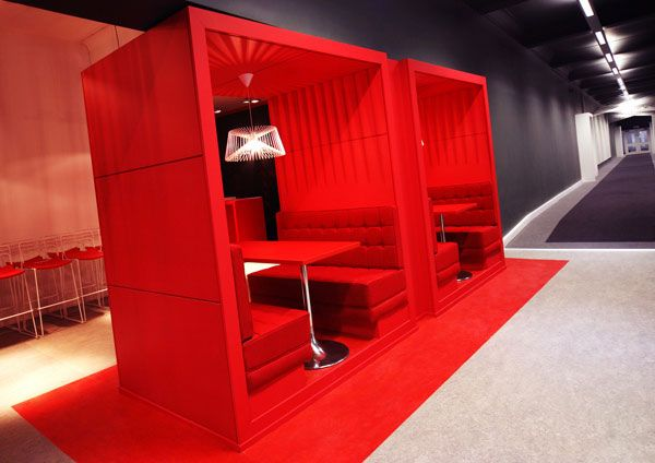 Red collaborative meeting room