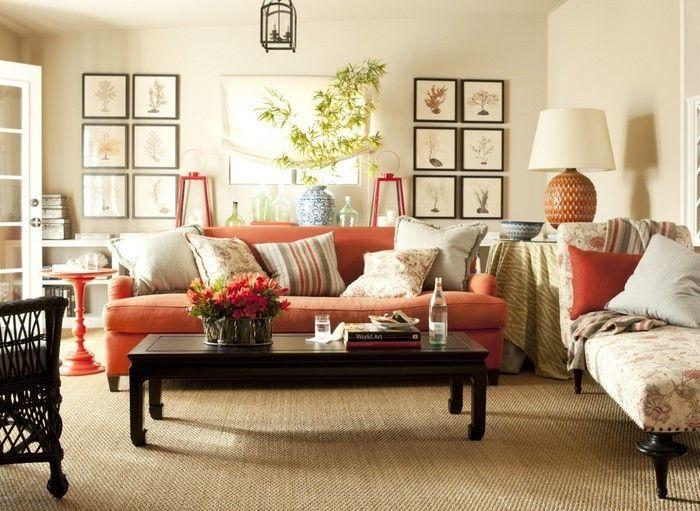 Farben für Wohnzimmer in Orange: 80 Wohnideen! (mit ...
