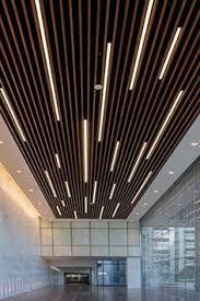 Bilderesultat For Wood Slat Ceiling Linear Lighting Ceiling Light Design Modern Ceiling Wood