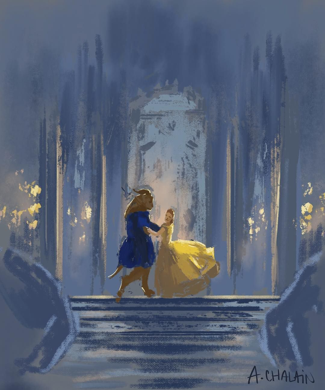 A Stunning Illustration For Beauty And The Beast Dancing Scene By