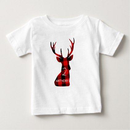 Lumberjack Plaid Red Deer Head Antlers Birthday Baby TShirt