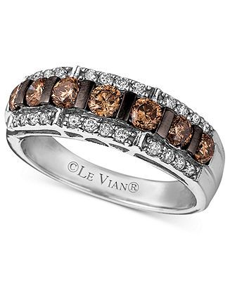 Le Vian Diamond Ring, 14k White Gold Chocolate Diamond and White Diamond Band (1-1/6 ct. t.w.) - Rings - Jewelry & Watches - Macy's