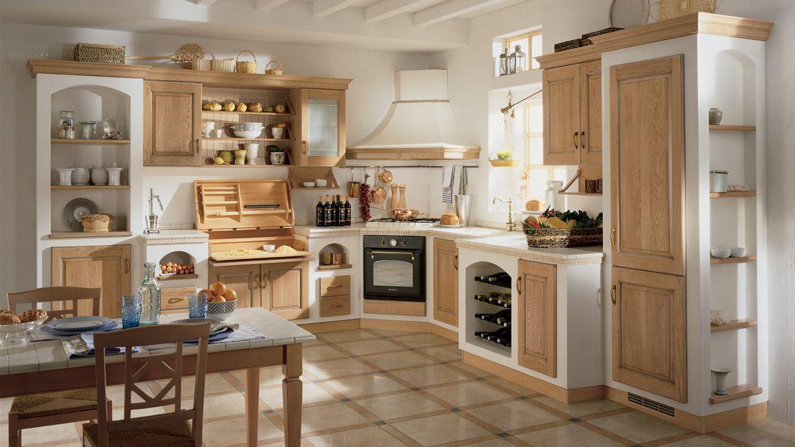 Gyönyörű klasszikus olasz konyhák - tradicionális, vidéki - landhauskchen mediterran