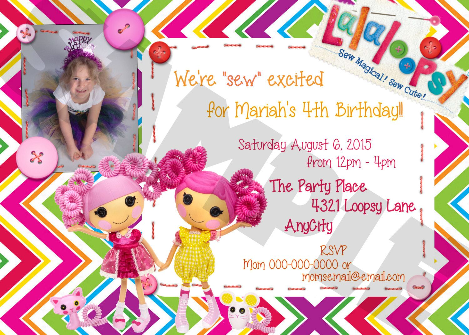 LALALOOPSY 2 Designs Custom Party Invitation Photo Digital Printable ...