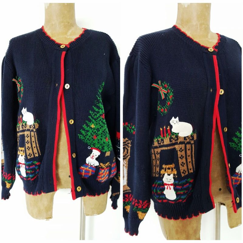 vintage ugly christmas sweater size large presents cats cardigan winner clothing shoes accessories womens clothing sweaters ebay - Ugly Christmas Sweater Ebay