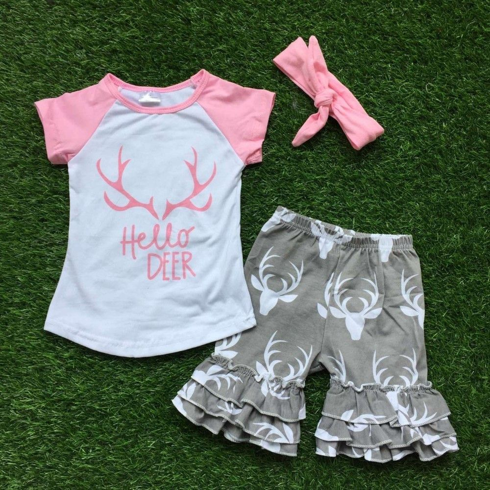 f2cd84ed2c71 hello deer shorts outfit new design with matching headwear set kid ...