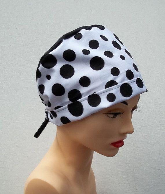 Black and White Polka Dot Scrub Hat