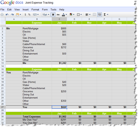 A Simple Spreadsheet For Tracking Shared Expenses  Finances