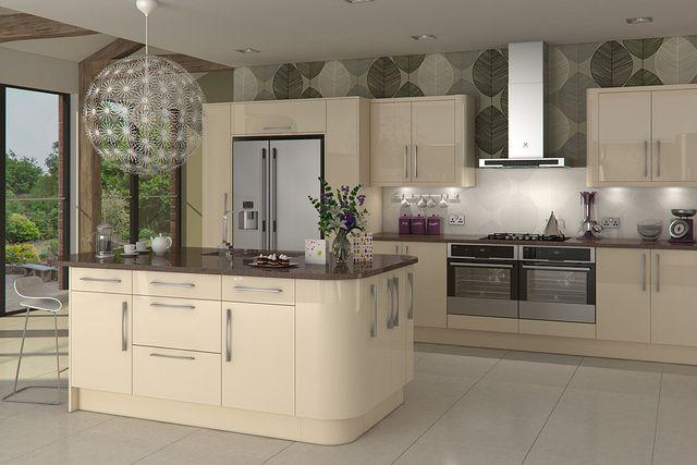 Livorna Gloss Cream Kitchen White Kitchen Units Gloss Kitchen