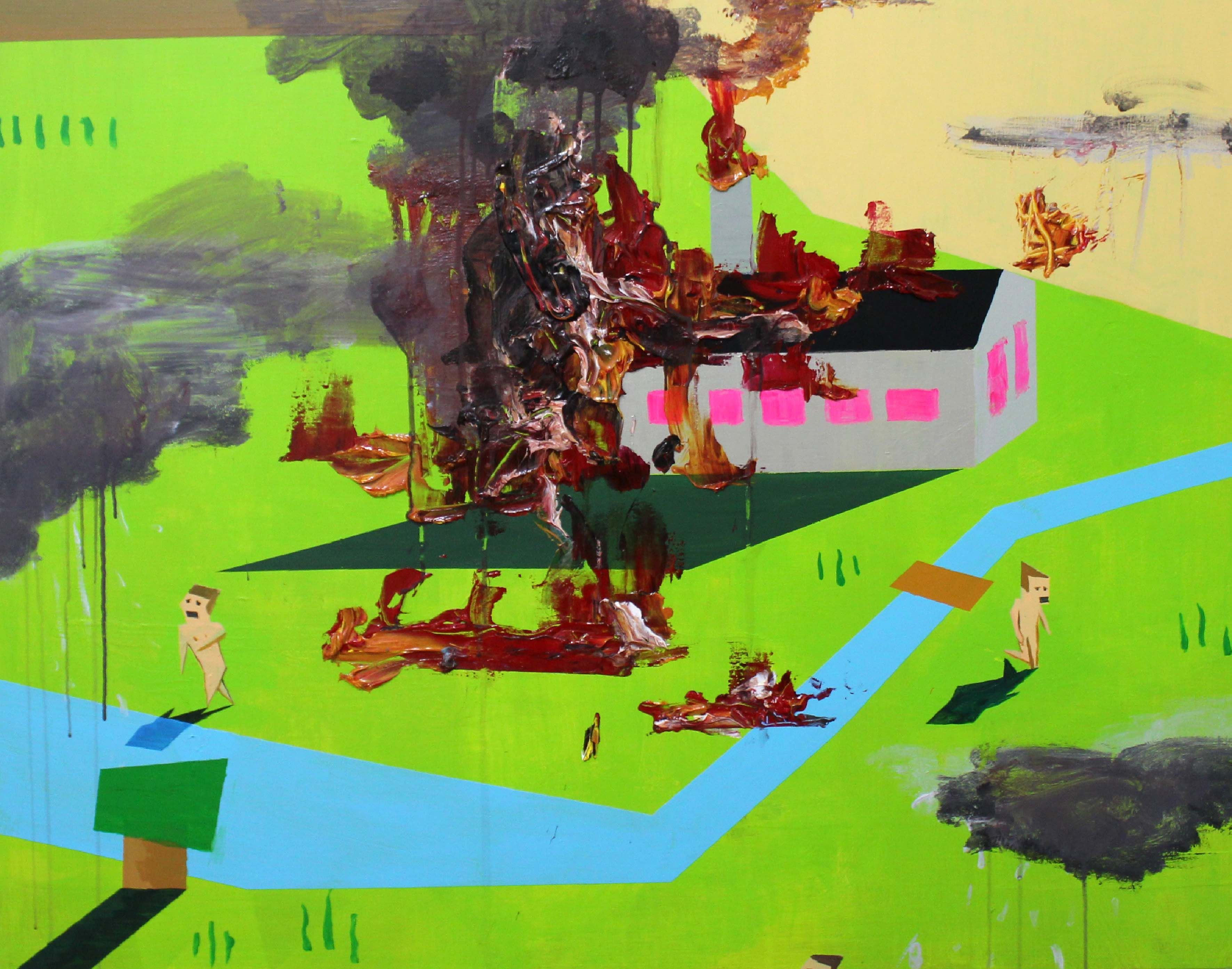 Zen Tainaka, Fire, acrylic on canvas, 91×116.7cm, 2015