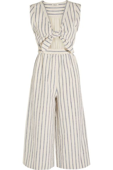 db2f8ad584 MADEWELL Tie-Front Cutout Linen And Cotton-Blend Jumpsuit.  madewell  cloth   jumpsuits