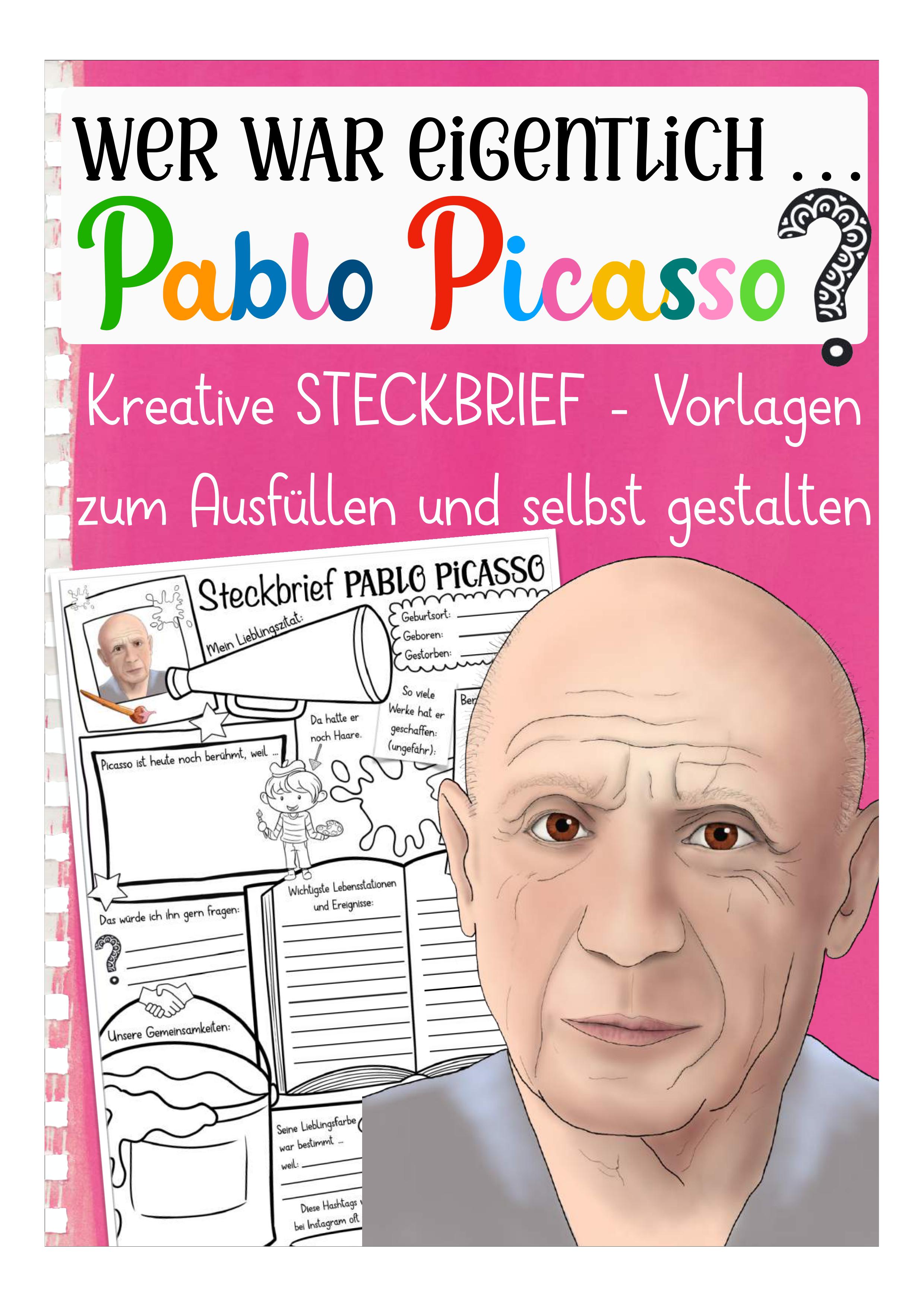 Pablo Picasso Steckbrief Unterrichtsmaterial In Den Fachern Geschichte Kunst Pablo Picasso Steckbrief Pablo Picasso Kunstler Grundschule