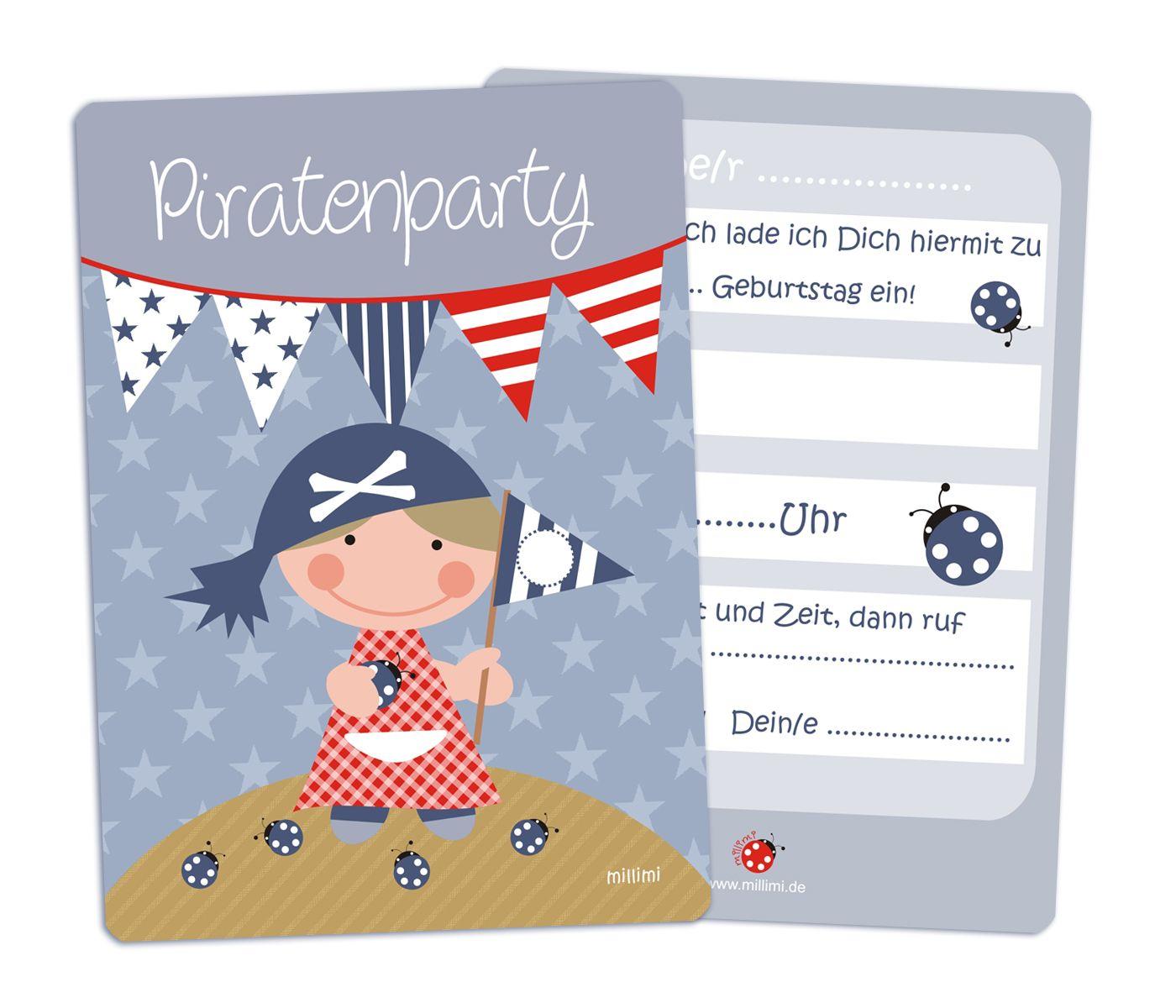"""einladungskarte """"piratin"""" für mädchen (5er set 5,50"""