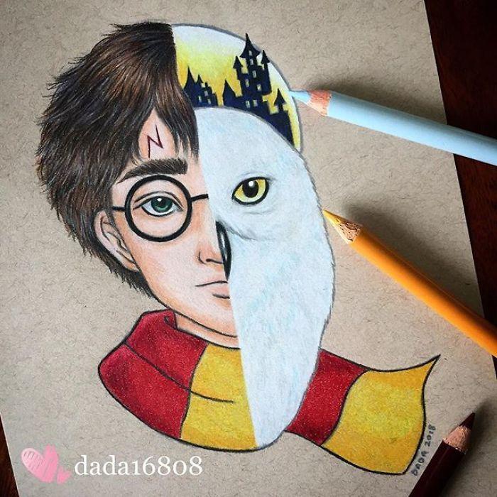 Elle combine deux personnages en un dans ses somptueux crayonnages (page 3)