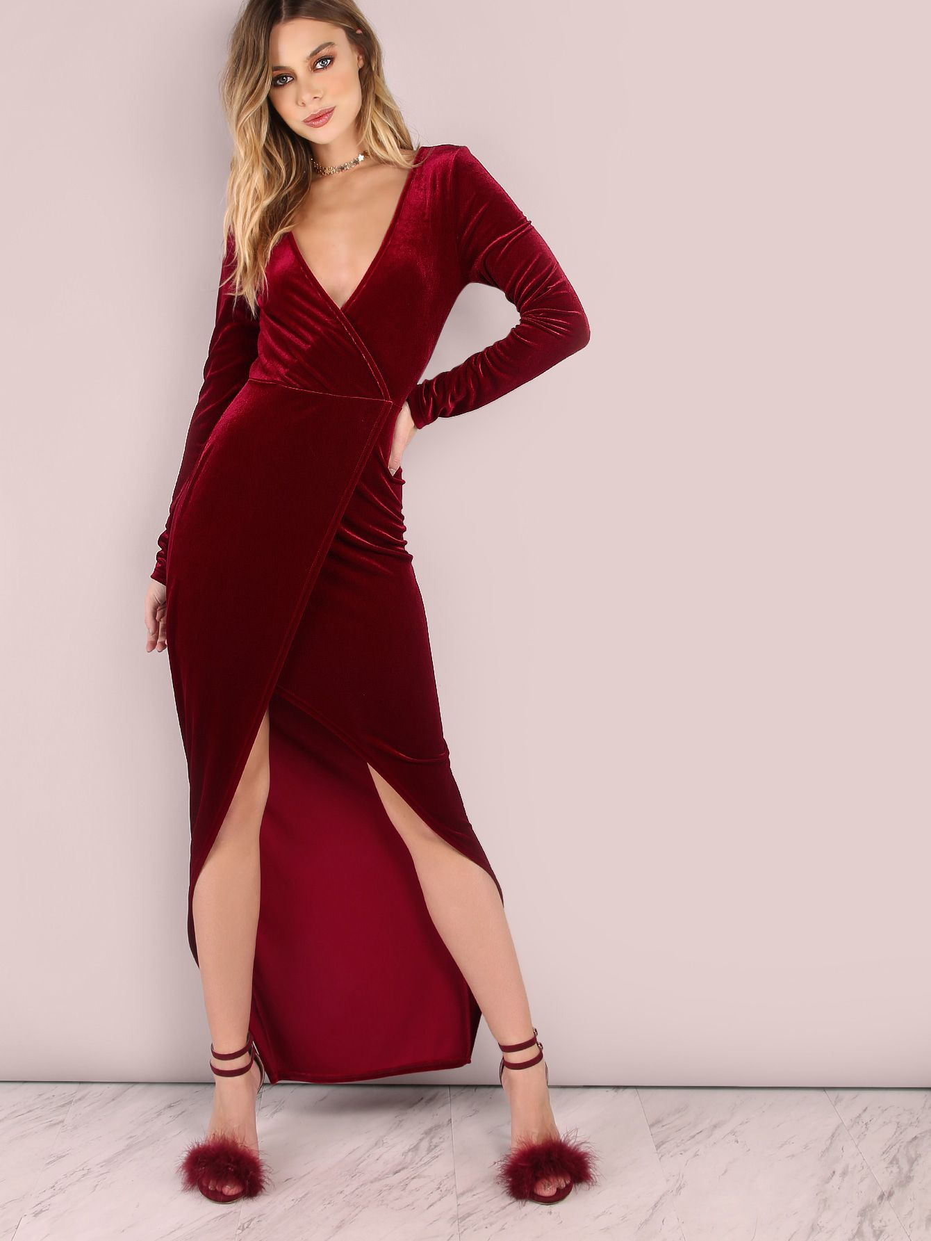 569f6a68d2 Featuring an asymmetrical body with a high/low hemline, long sleeve arms,  slip on fit, deep v-neckline and smooth velvet material. Dress measures ...