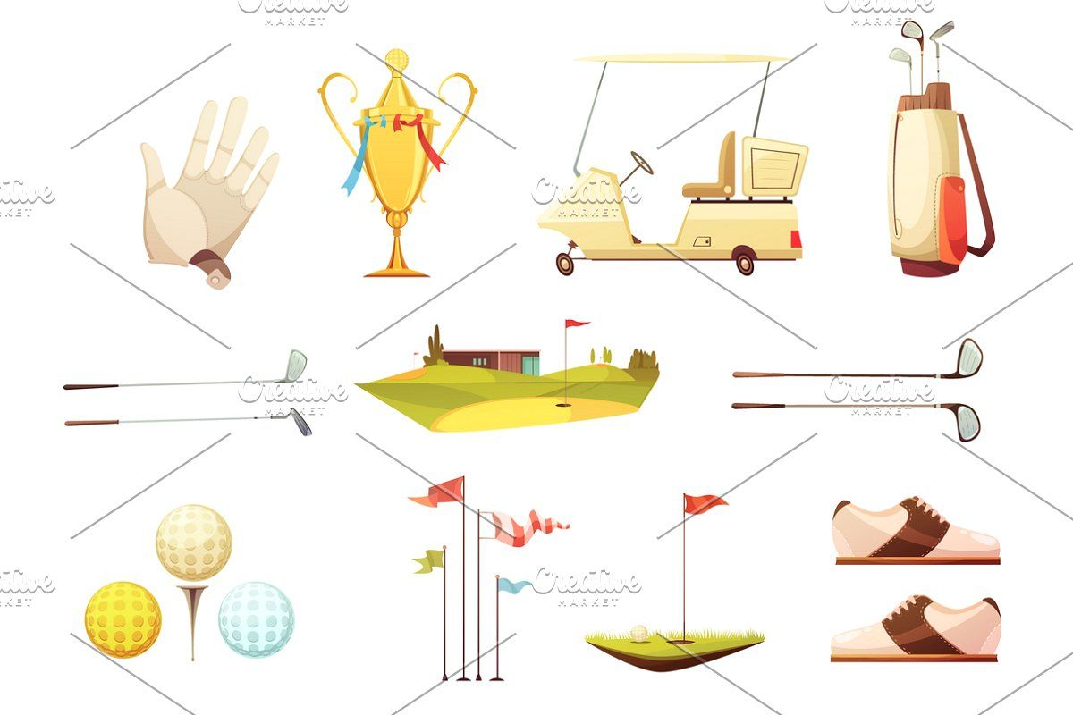 Golf Retro Cartoon Icons In 2020 Retro Cartoons Training Accessories Retro