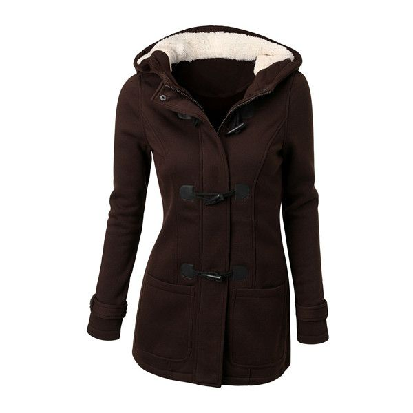 Pocket Design Hooded Collar Long Coat (335 SEK) ❤ liked on Polyvore featuring outerwear, coats, brown, longline coat, long brown coat, long sleeve coat, collar coat y long coat