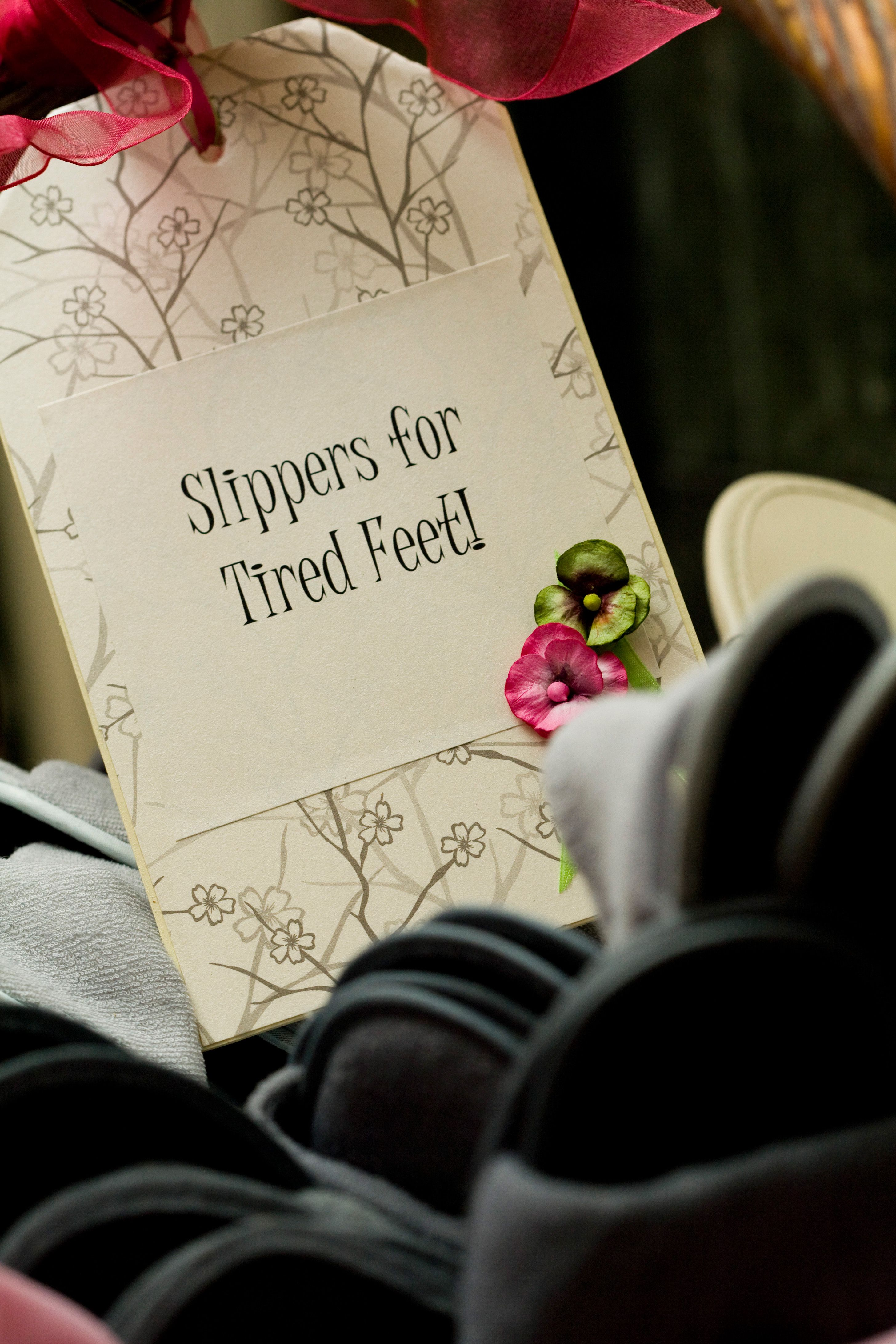 Love this idea! Providing slippers for guests with \