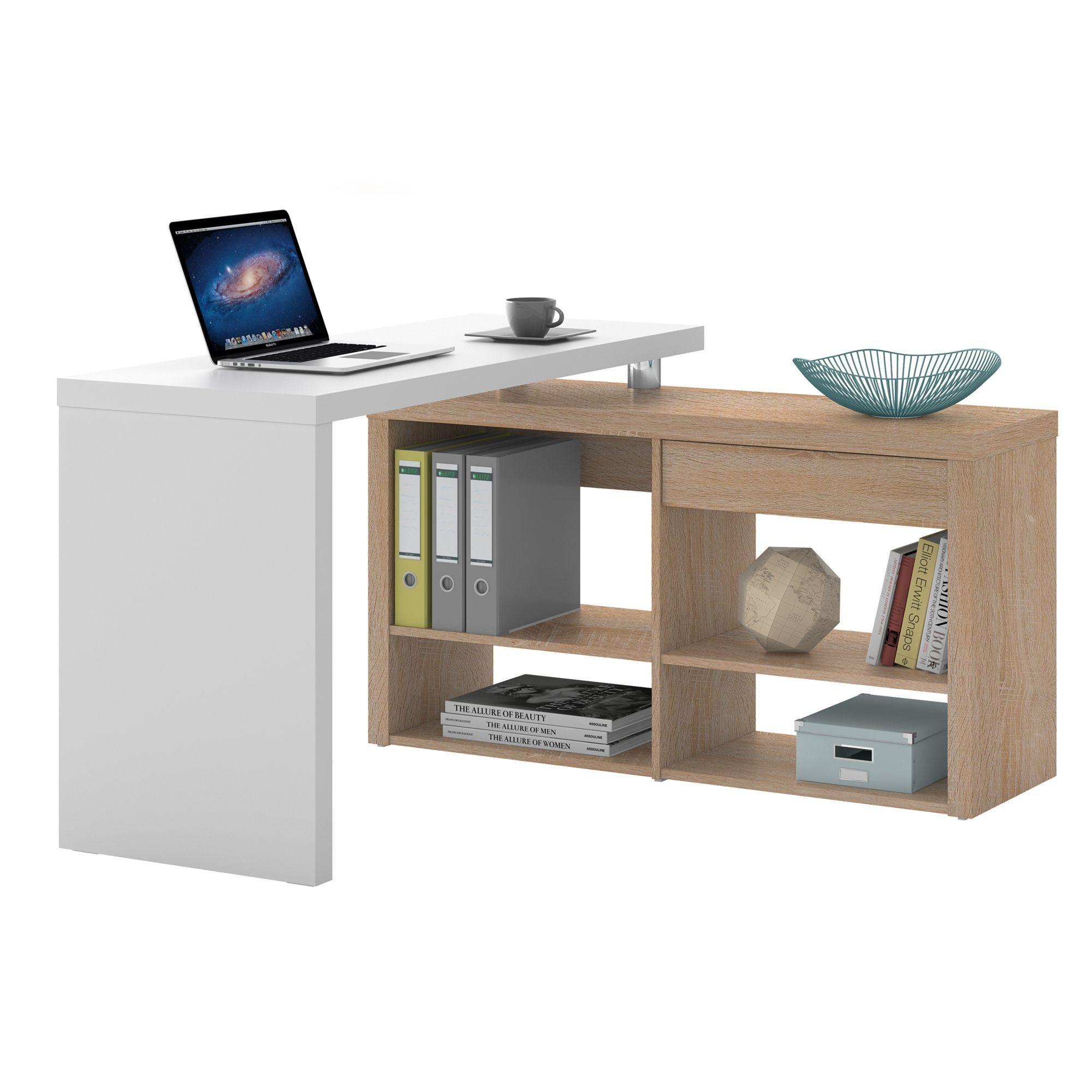 bureau d 39 angle avec 1 tiroir et 4 tag res naturel et blanc stars les bureaux adultes les. Black Bedroom Furniture Sets. Home Design Ideas