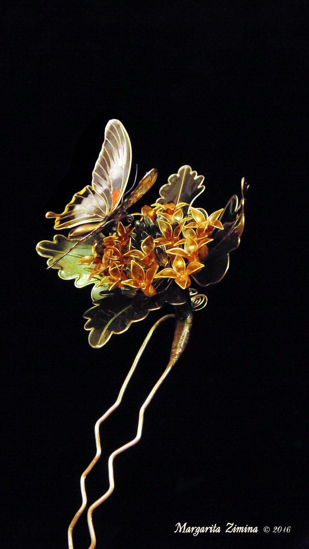 Japanese Kanzashi Brooch Black Butterfly Stick