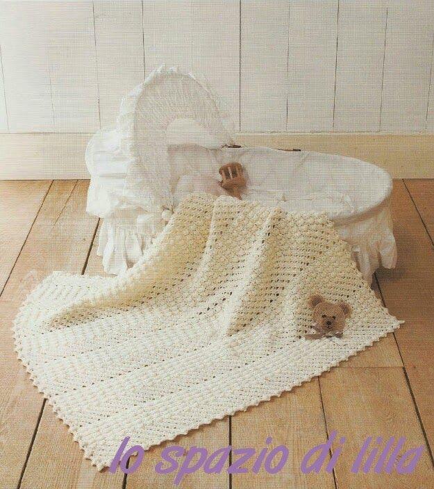 lo spazio di lilla  Schemi gratuiti di copertine ai ferri e all uncinetto    Free crochet and knit baby blankets patterns 15441fa670c0
