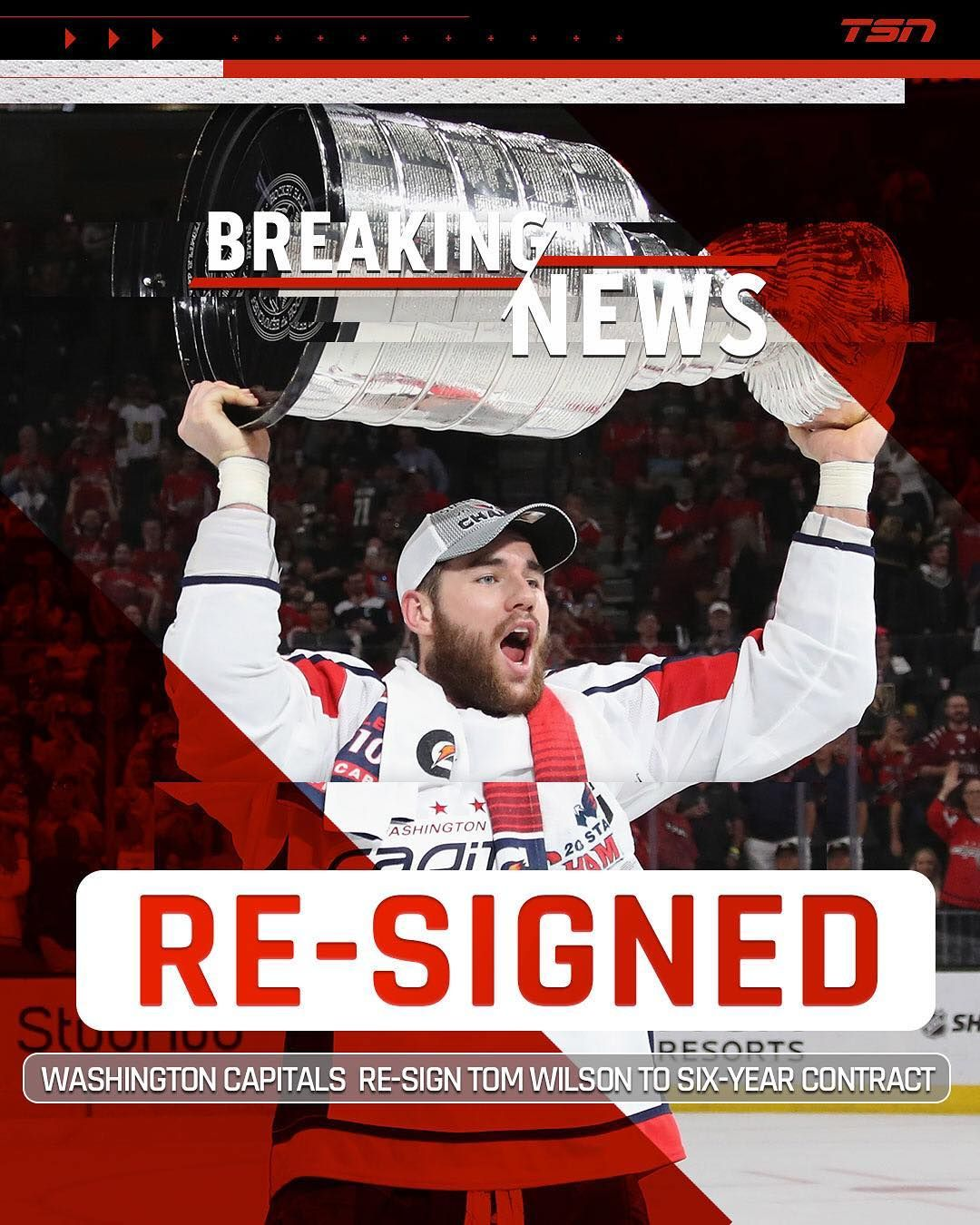 9d3089fe515 The Washington  Capitals have re-signed Tom Wilson to a six-year contract  that will carry an average annual value of  5.17 million.