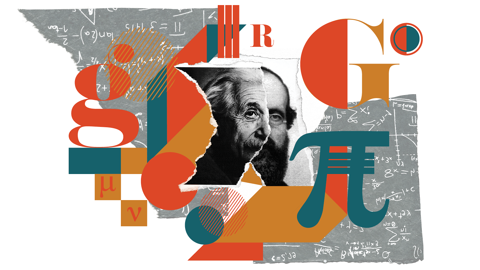 Collage Of Einstein And Reimann S Faces On Ripped Paper In