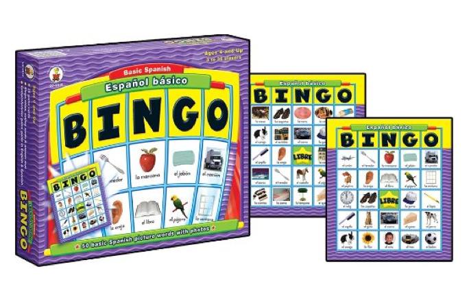 SPANISH LANGAUGE GAMES | ESPAÑOL BÁSICO: BINGO GAME: Practice basic Spanish vocabulary. It covers 50 Spanish words with photos and includes 36 game cards, bingo chips, calling cards, answer mat and comprehensive game guide in English and Spanish. For 3 to 36 players. #Bingo #BoardGames #Games #Spanish