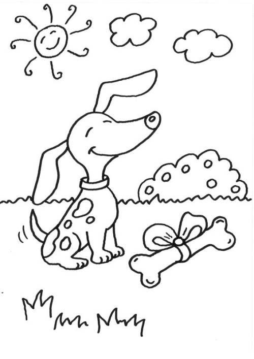 hunde: hund mit knochen ausmalen zum ausmalen | malvorlage