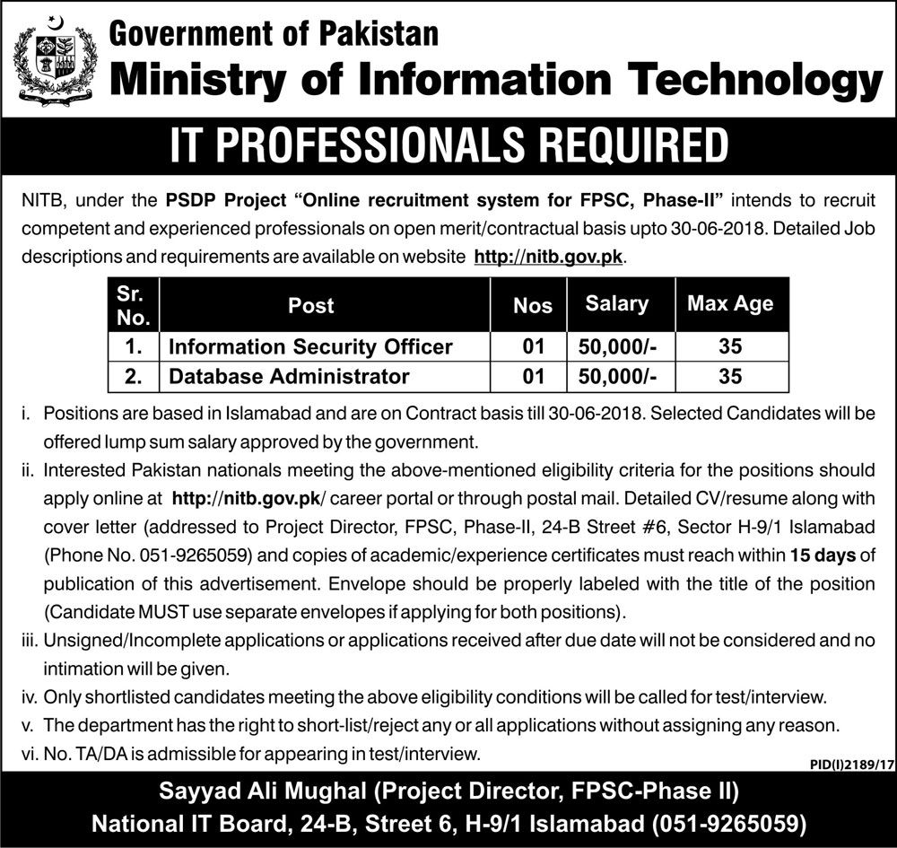 Ministry Of Information Technology Jobs  In Islamabad For