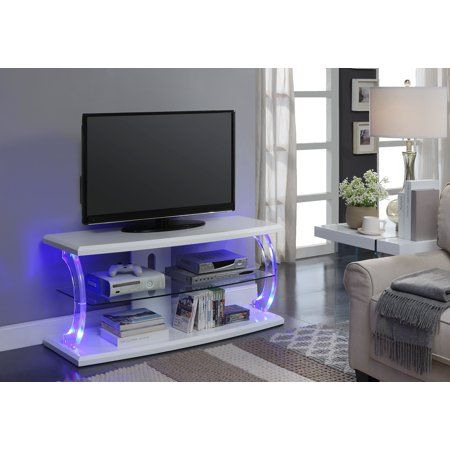 Acme Aileen Led Tv Stand With Rectangular Top In Clear Glass