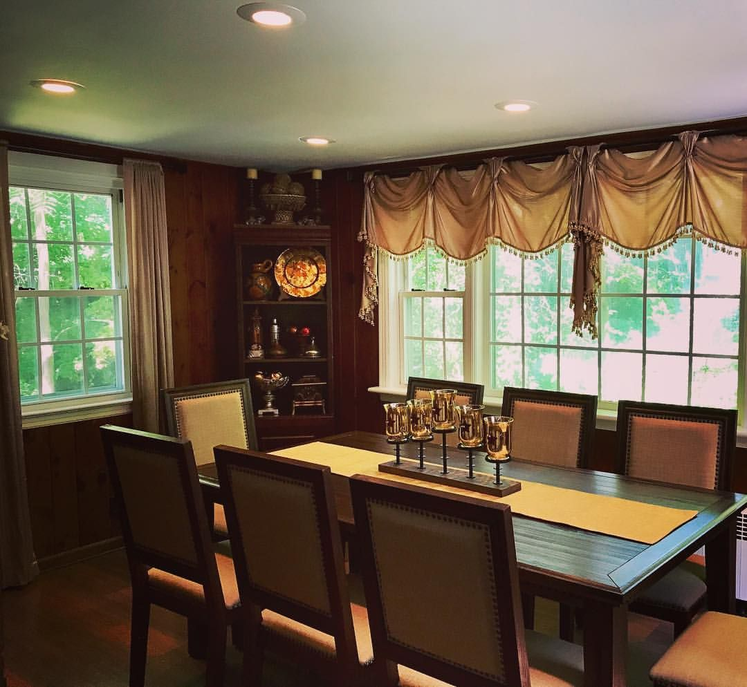 Dining room window coverings  love this newly remodeled dining room window treatments diy