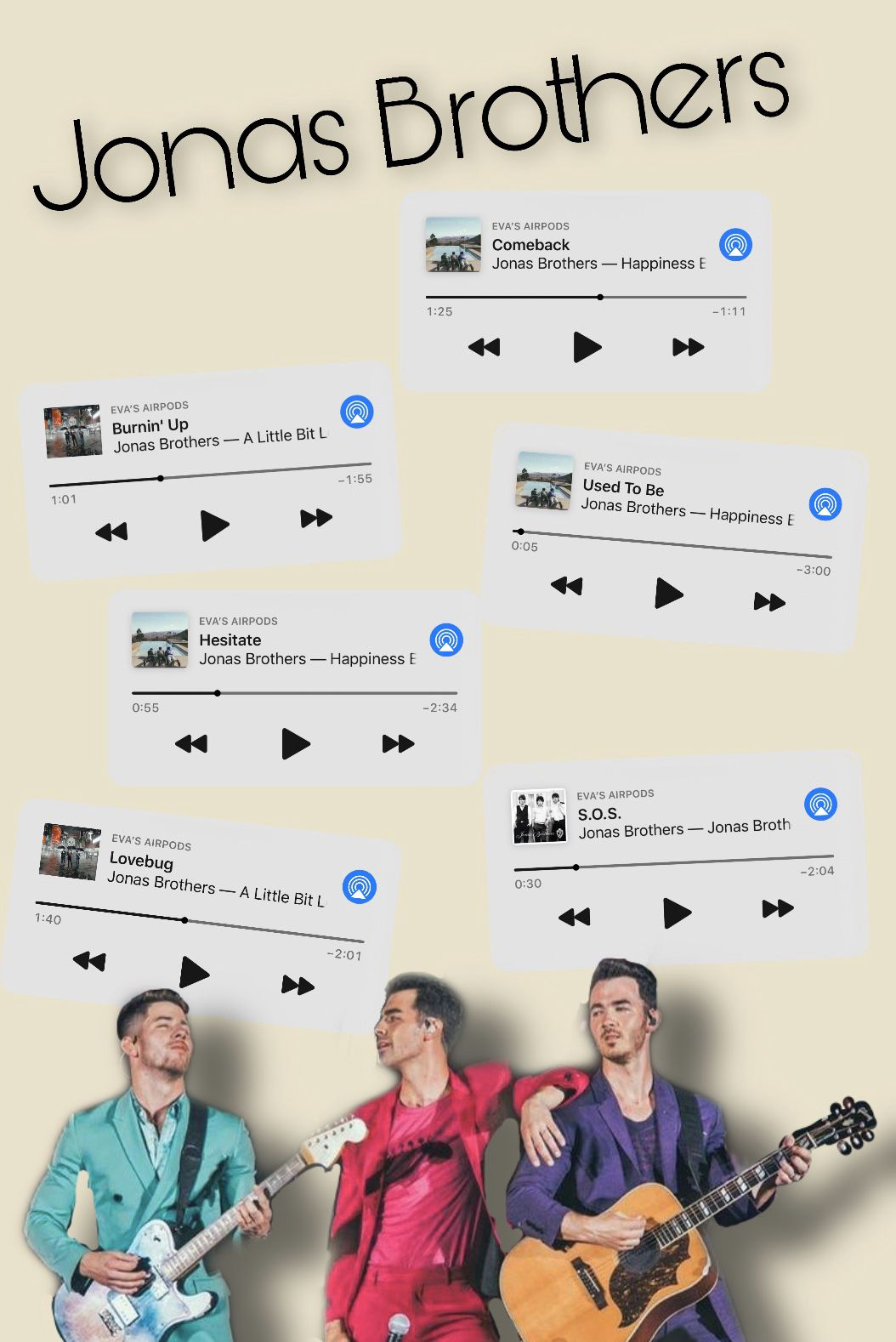 Chose my top six. Three old and three new! #jonasbrothers #happinessbegins