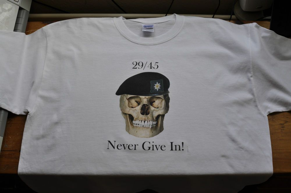 29/45 Never Give In! White Gildan T Shirt