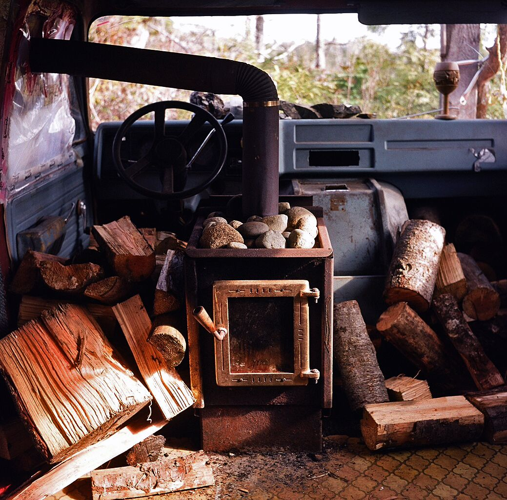 wood stove. in a van. Cabin, Cabin design, Log burning