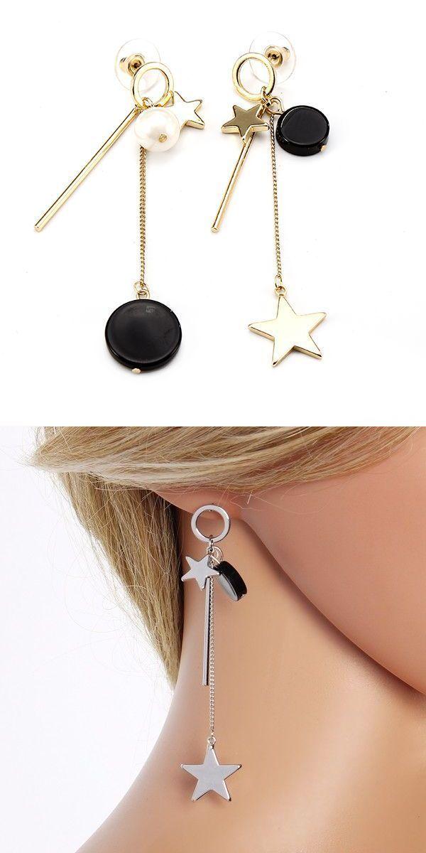 sweet ear drop alloy tassel moon pearl earrings for women