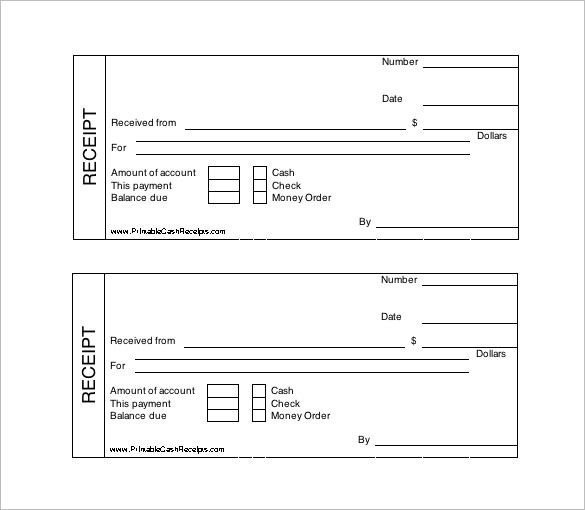 Printable Cash Receipt Template Free , Receipt Template Doc for - payment slip template